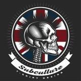 Emblema punky del vintage del cráneo Fotografía de archivo libre de regalías