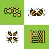 Emblema quattro o apicoltura di logo, società del miele o deposito con l'immagine delle api e del favo Fotografie Stock Libere da Diritti
