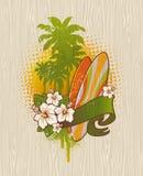 Emblema que practica surf tropical Foto de archivo libre de regalías