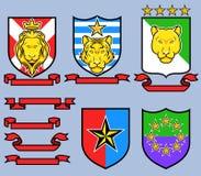 Emblema real de oro del gato grande Imagen de archivo libre de regalías