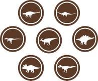 Emblema redondo Brown ajustado do dinossauro Foto de Stock