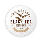 Emblema redondo com a folha de chá tirada mão Foto de Stock Royalty Free