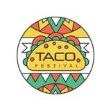 Emblema redondo con la comida tradicional mexicana de la calle Concepto del festival del taco Diseño abstracto del vector para el
