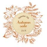 Emblema redondo del papel de la venta del otoño sobre las hojas de otoño Ilustración drenada mano del vector ilustración del vector