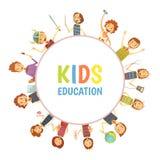 Emblema redondo dos desenhos animados do quadro da educação das crianças Fotografia de Stock Royalty Free