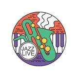 Emblema redondo para o concerto vivo do jazz Festival de música Logotipo com chaves do saxofone e do piano Linha arte abstrata co