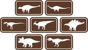 Emblema retangular Brown ajustado do dinossauro Fotos de Stock Royalty Free