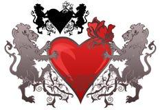 Emblema retro de la tarjeta del día de San Valentín del estilo Fotografía de archivo libre de regalías