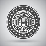 Emblema retro do microfone e dos fones de ouvido Fotos de Stock