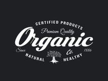Emblema retro natural y sano orgánico de la comida fresca de la granja Imagen de archivo