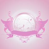 Emblema rosado, elemento del diseño Imagen de archivo libre de regalías