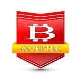 Emblema rosso dello schermo di cryptocurrency di Bitcoin Fotografia Stock Libera da Diritti