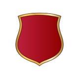 Emblema rosso di forma dell'icona dell'oro dello schermo Immagine Stock