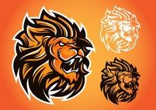 Emblema rosso di vettore di logo del leone Fotografia Stock
