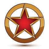 Emblema rosso raffinato con i confini dorati, elemento della stella di vettore di progettazione 3d Immagine Stock