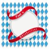 Emblema rotondo bianco dei forconi di Monaco di Baviera Oktoberfest Fotografia Stock