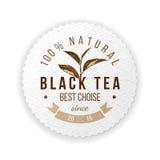 Emblema rotondo con la foglia di tè disegnata a mano Fotografia Stock Libera da Diritti