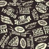 Emblema sem emenda do rugby do esporte do teste padrão Imagens de Stock