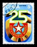 emblema, serie de 25 aniversários, cerca de 1986 fotos de stock