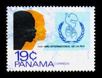 Emblema, serie internacional del año de la paz, circa 1986 Fotos de archivo