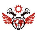 Emblema simple del vector creado usando el ejemplo del planeta de la tierra compuesto con las alas, el engranaje industrial y el  stock de ilustración