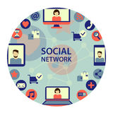 Emblema social de la red Foto de archivo