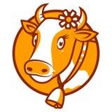 Emblema sorridente della buona mucca Fotografia Stock