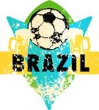 Emblema sujo imaginário do futebol/futebol com bola de futebol e b Foto de Stock Royalty Free