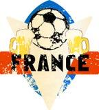 Emblema sujo imaginário france do futebol/futebol Imagem de Stock Royalty Free