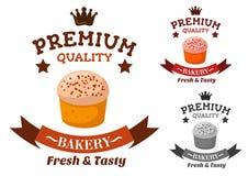 Emblema superior de la panadería y de la tienda de pasteles Foto de archivo libre de regalías