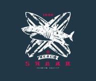 Emblema surfando do tubarão Projeto gráfico para o t-shirt Imagem de Stock Royalty Free