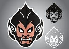 Emblema tailandese capo di vettore di logo della scimmia Fotografia Stock