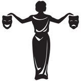 Emblema teatrale con le maschere Fotografia Stock Libera da Diritti