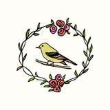 Emblema tirado mão do pássaro Fotos de Stock Royalty Free
