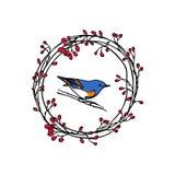 Emblema tirado mão do pássaro Foto de Stock