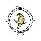 Emblema tirado mão do pássaro Imagens de Stock