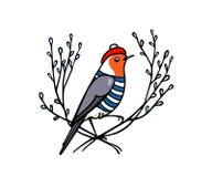 Emblema tirado mão do pisco de peito vermelho ilustração royalty free