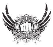 Emblema urbano com punho Fotografia de Stock Royalty Free