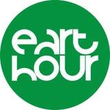 Emblema verde de la hora del eart del círculo stock de ilustración