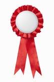 emblema vermelho das fitas da concessão Foto de Stock