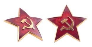 Emblema vermelho soviético da estrela com trajeto de grampeamento Fotografia de Stock