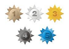 1,2,3,4,5 emblemas Imagens de Stock Royalty Free