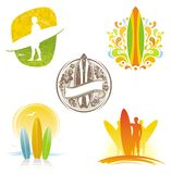 Emblemas & etiquetas surfando Fotografia de Stock