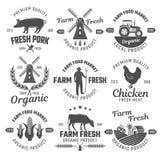 Emblemas blancos negros de la granja libre illustration