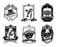 Emblemas brancos pretos do teatro ajustados Imagem de Stock Royalty Free