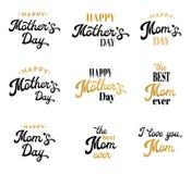 Emblemas caligráficos e insignias de las letras de día de madres fijados en blanco Día de madres feliz, la mejor inscripción de l Foto de archivo