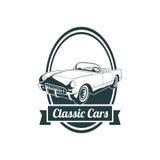 Emblemas clásicos del coche del músculo, insignia retra de alta calidad e icono del vintage Diseñe los elementos para la reparaci Imágenes de archivo libres de regalías
