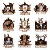 Emblemas coloreados caballeros libre illustration