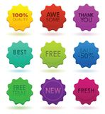 Emblemas coloridos Fotografia de Stock