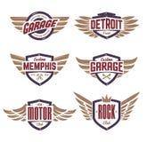 Emblemas com as asas ajustadas Fotos de Stock Royalty Free
